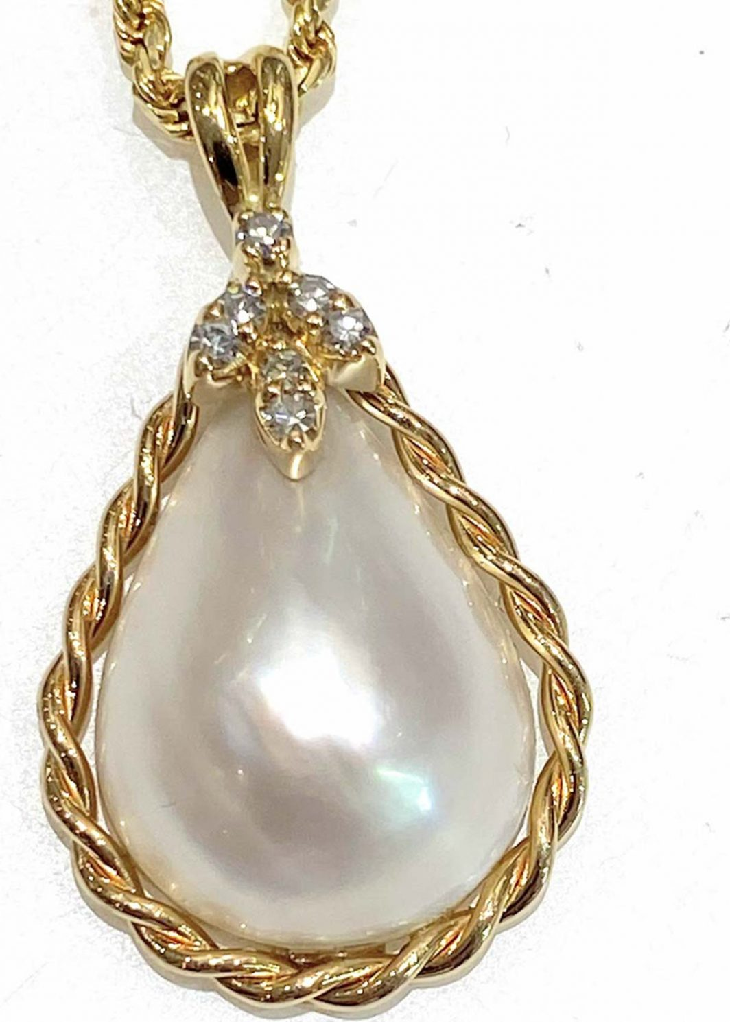 14K Yellow Gold Mabe Pearl Pendant