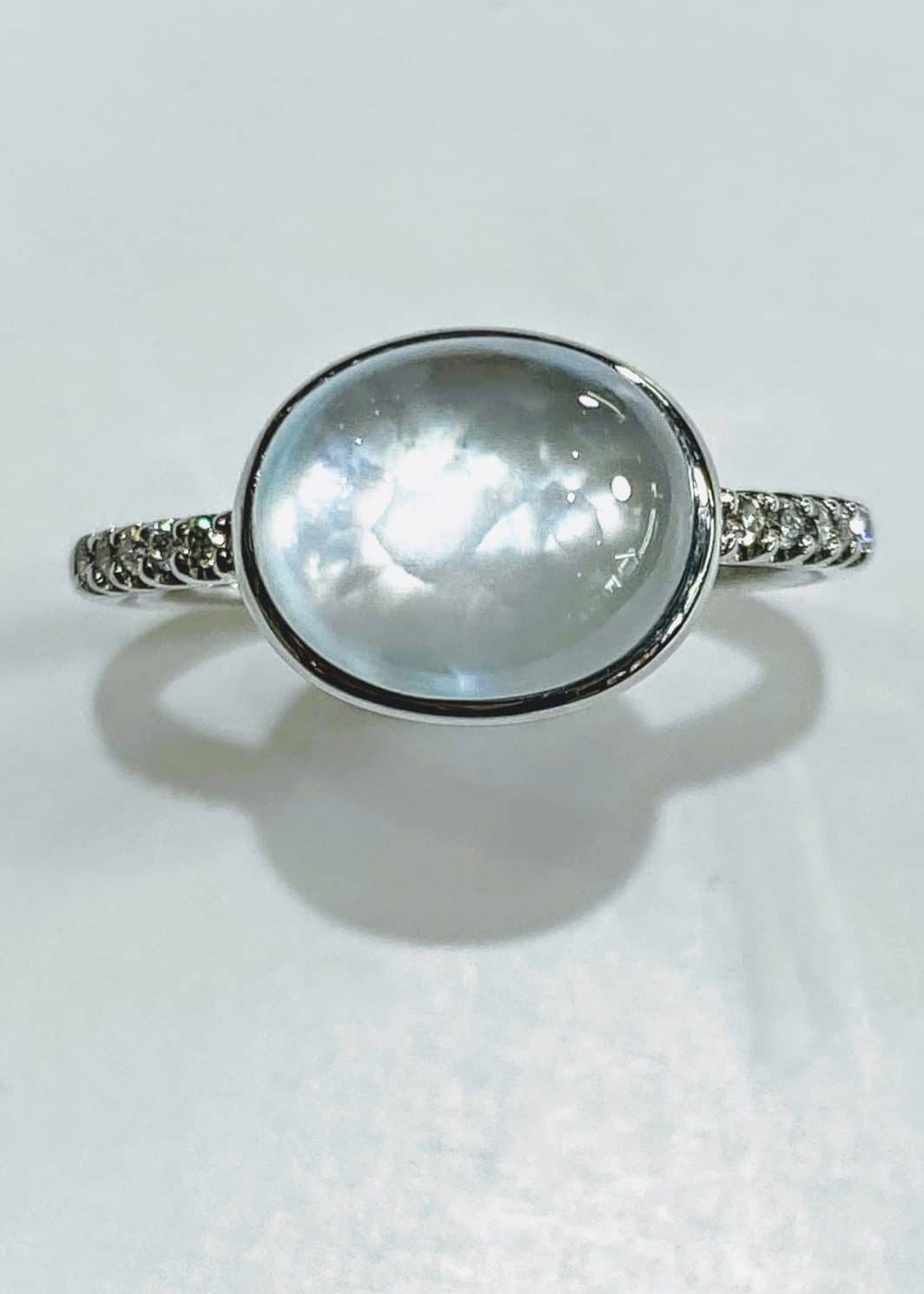 14k White Gold With Sky Blue Moon Stone and Diamonds