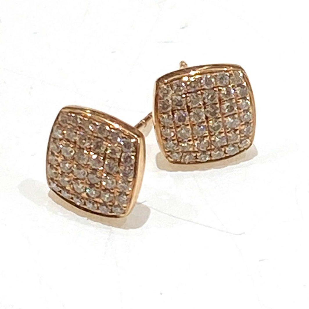 Diamond Square Earrings in 14K Rose Gold