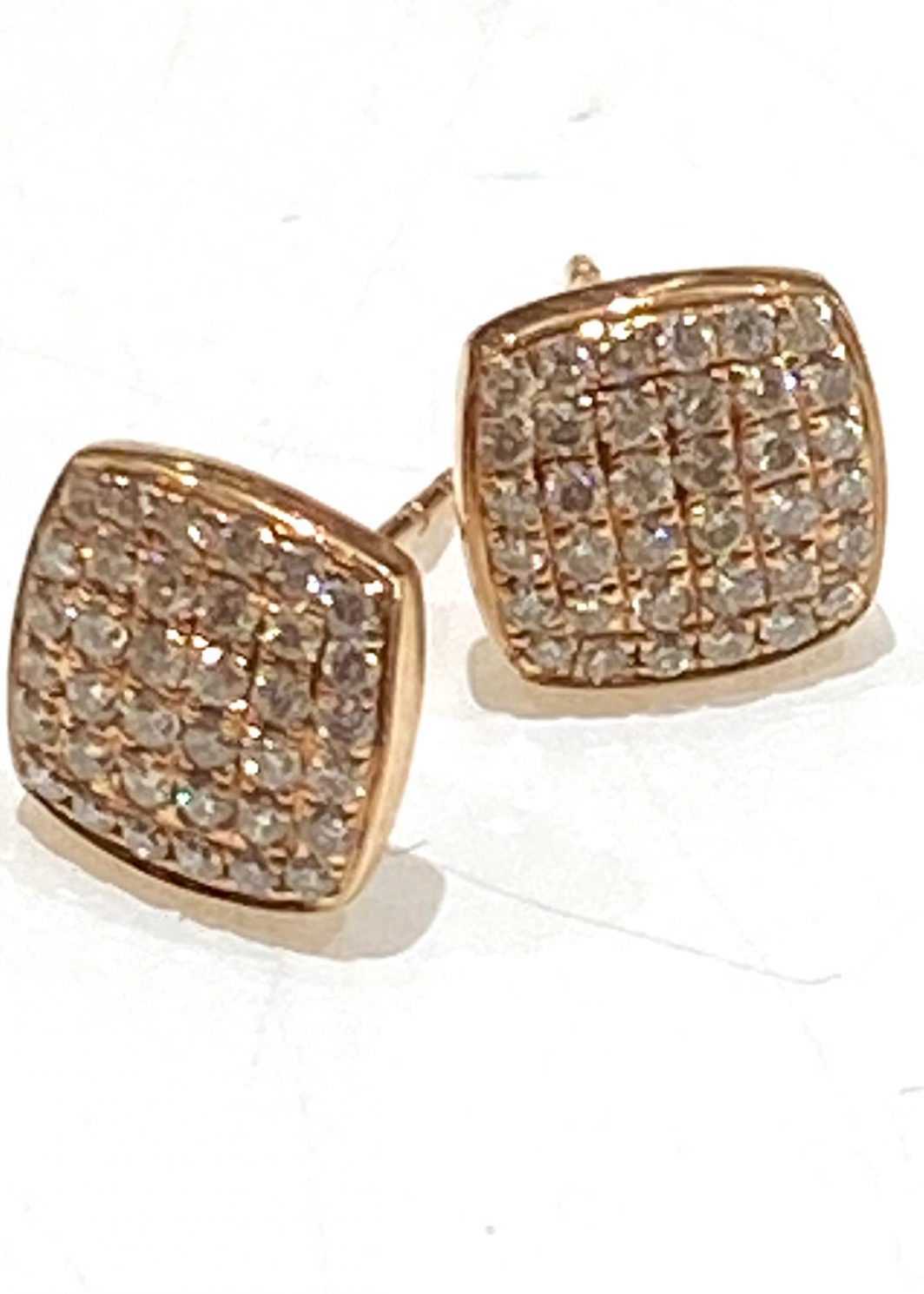 Diamond Square Earrings in 14K Rose Gold