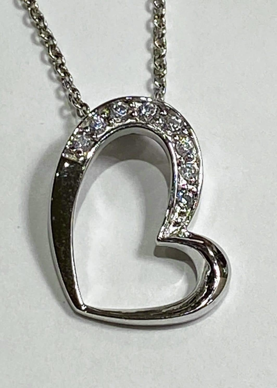 Sterling Silver Angled With CZ Heart
