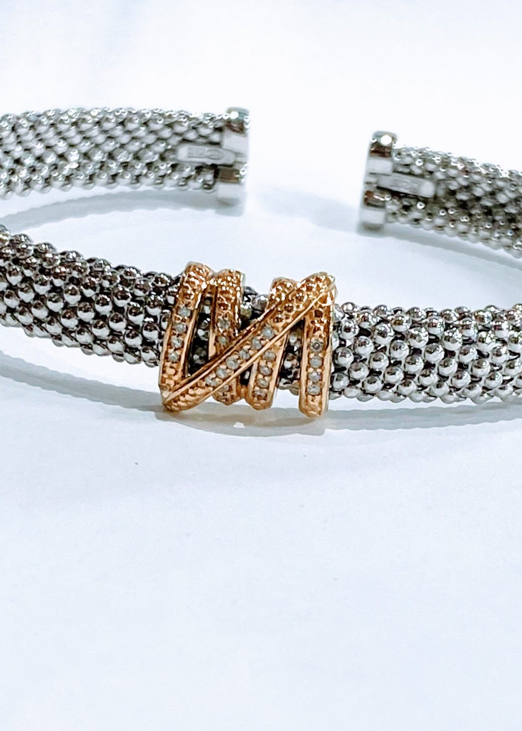 Sterling Silver With Yellow Gold and Diamond Attachment Bracelet