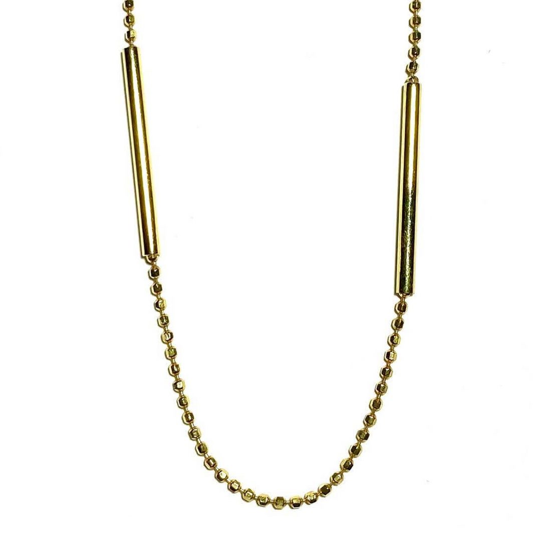 Beaded Bar and Chain Necklace