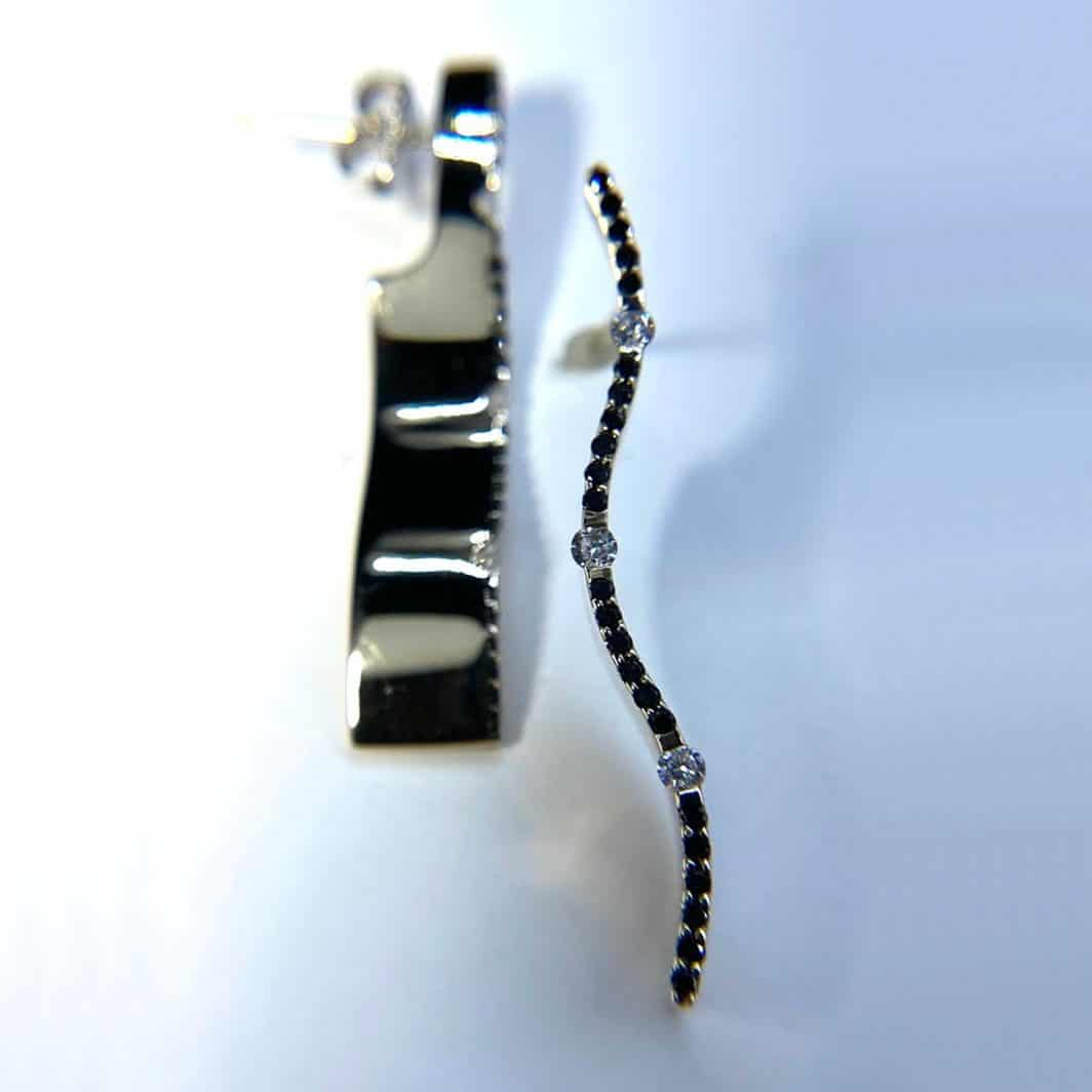 Black and White Diamond Wave Earrings