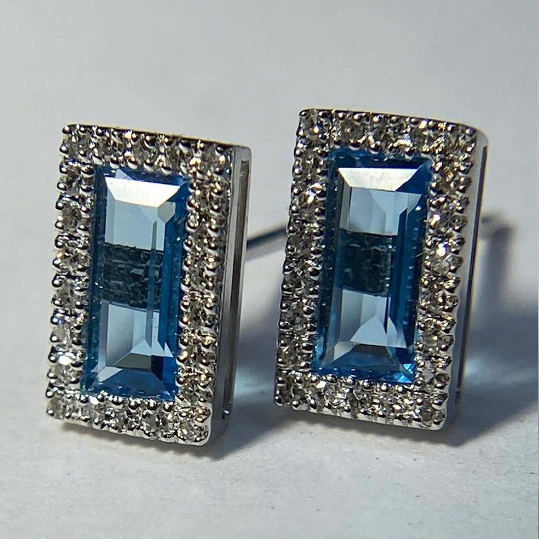 Blue Topaz Baguette Earrings
