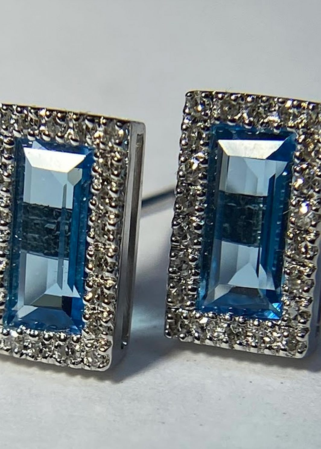 Blue Topaz Baguette Earrings