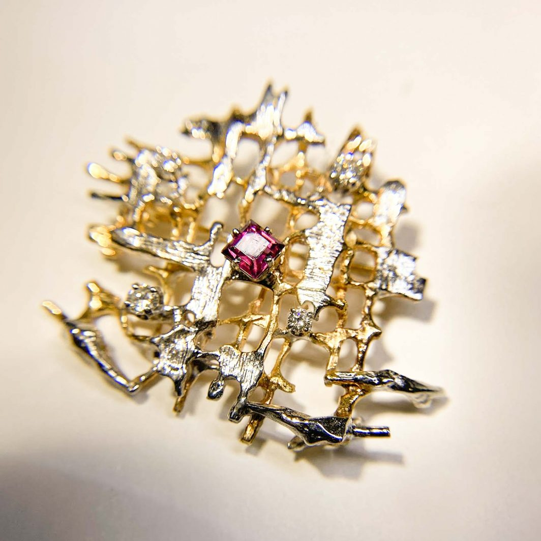 Custom Designed Diamond and Garnet Pin