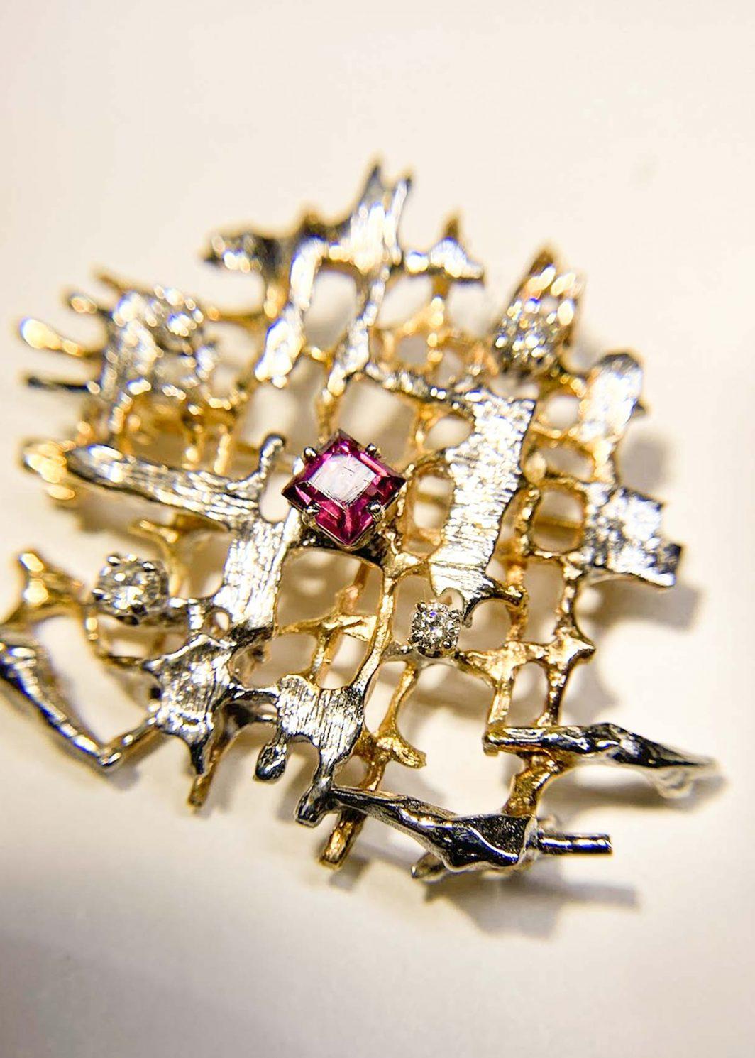 Custom Designed Diamond and Garnet Pin