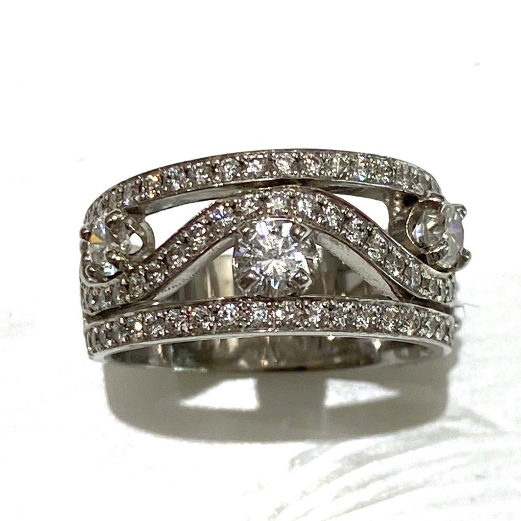 Custom Made Diamond Ring Wave