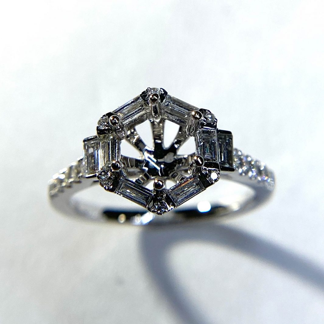 Diamond Octagonal Halo Engagement Ring