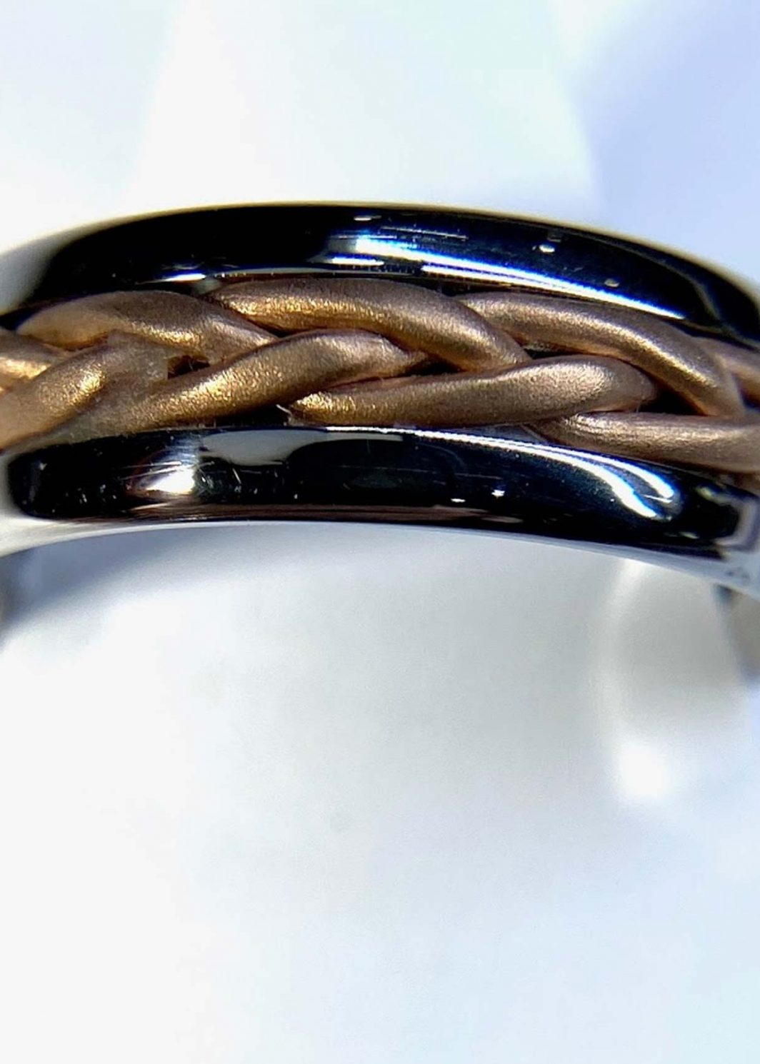 Gents Braided Two Tone Ring
