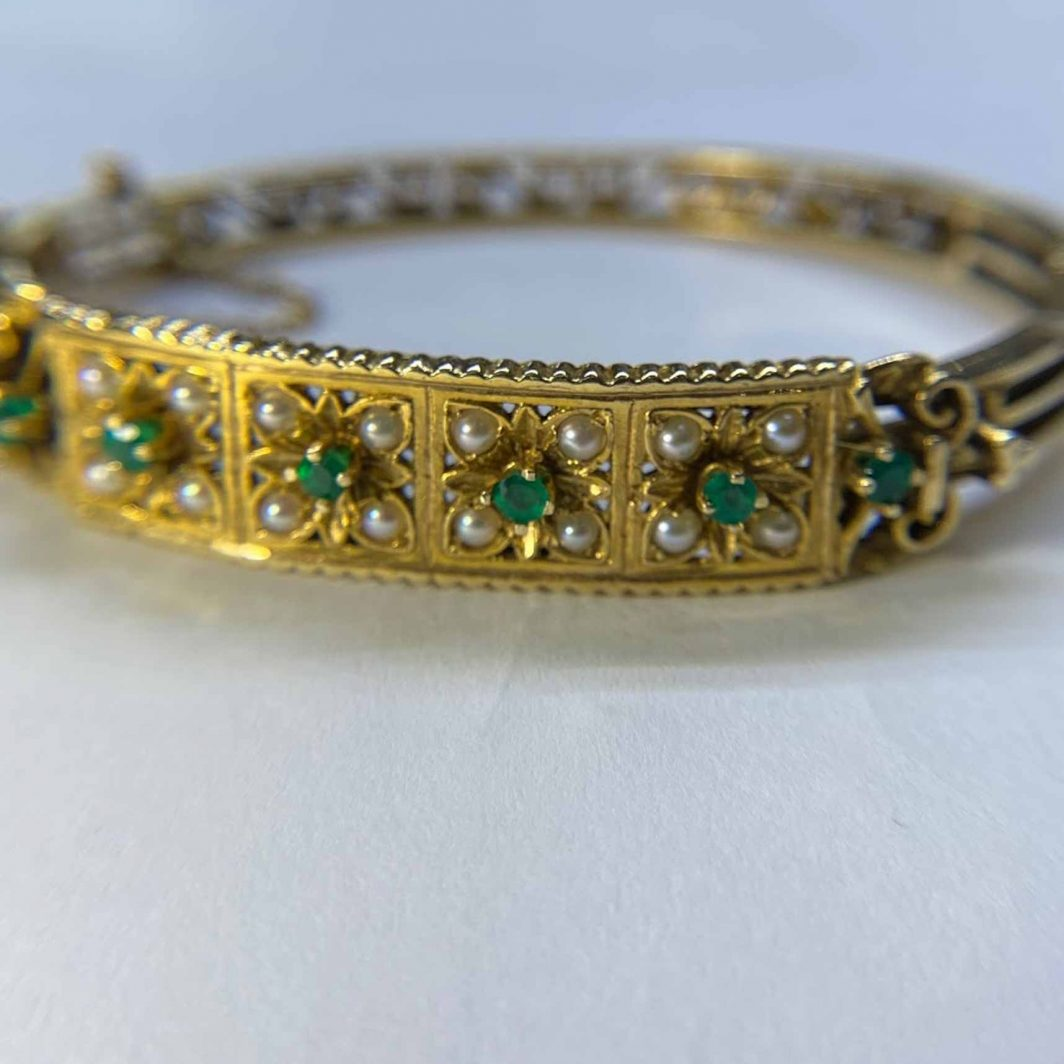 Antique Emerald and Pearl Bracelet