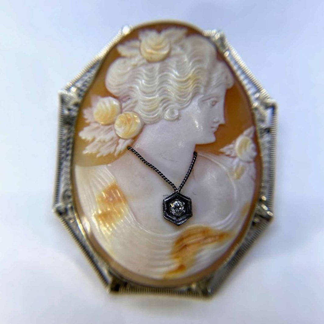 Cameo Lady Wearing Diamond Pendant