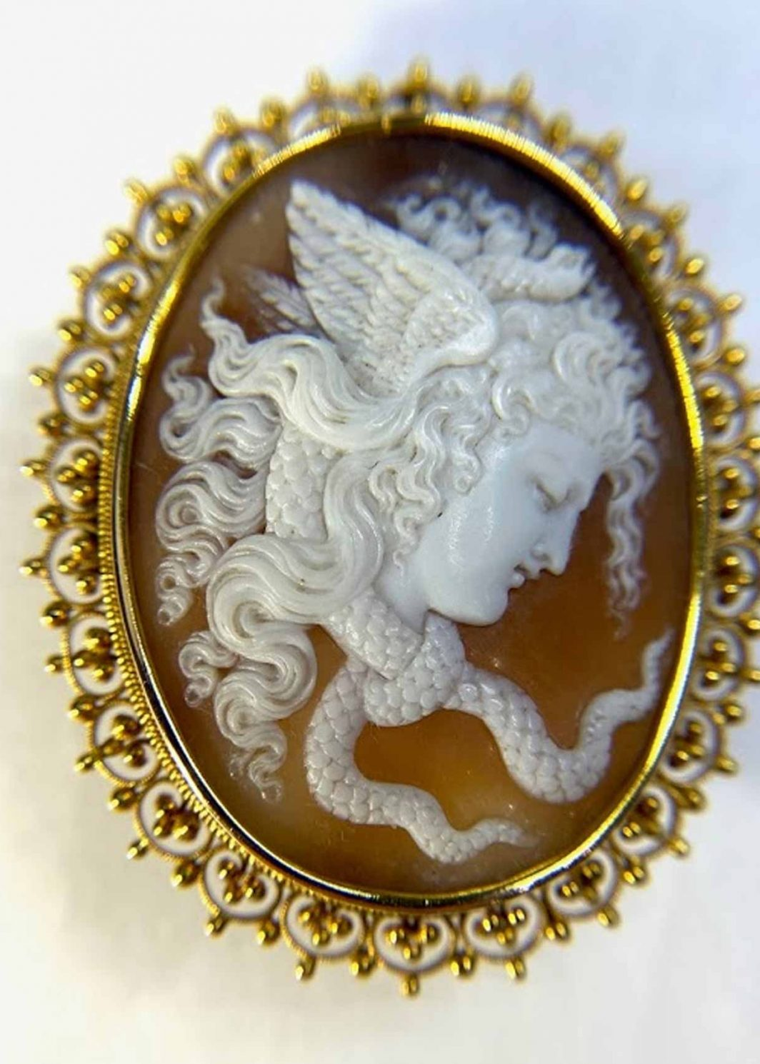 Cameo With Lady and Snakes